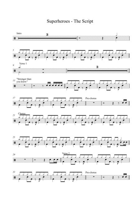 Download Superheroes - The Script (Drum Set) Sheet Music By The ...