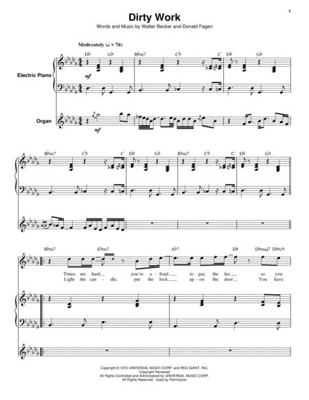 Download Dirty Work Sheet Music By Steely Dan Sheet Music Plus