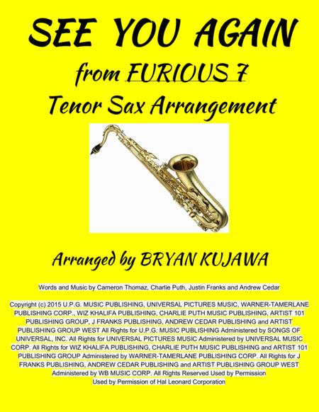 See You Again from FURIOUS 7 - Tenor Sax Solo