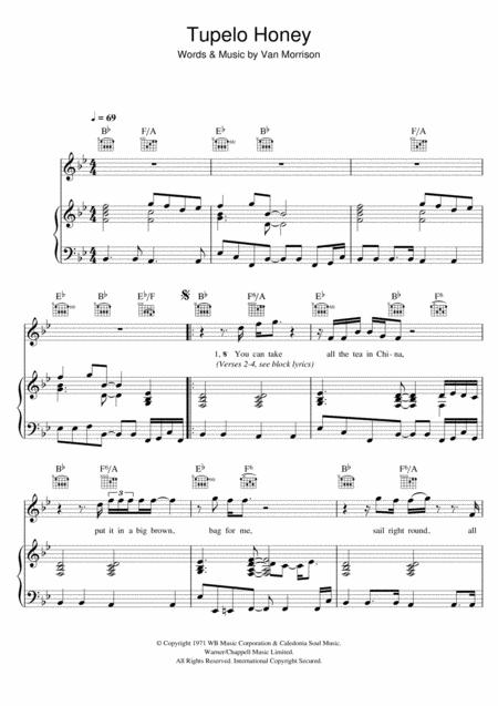 Download Tupelo Honey Sheet Music By Van Morrison - Sheet Music Plus