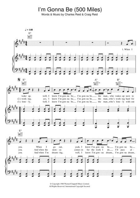 Download I\'m Gonna Be (500 Miles) Sheet Music By The Proclaimers ...