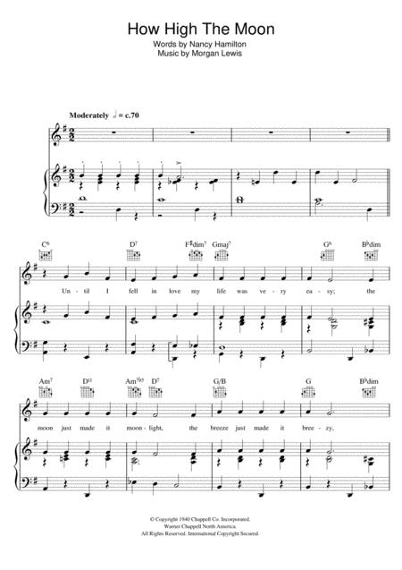 Download How High The Moon Sheet Music By Ella Fitzgerald - Sheet ...