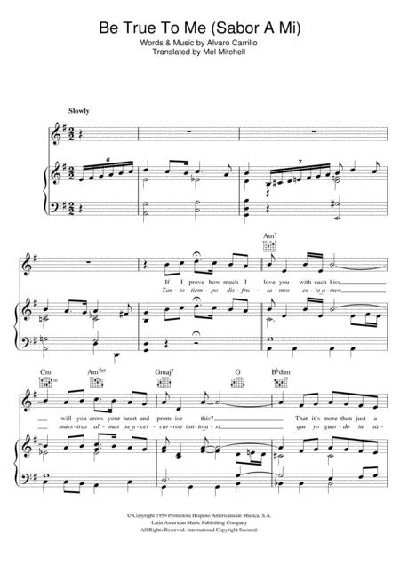 Download Sabor A Mi (Be True To Me) Sheet Music By Doris Day ...