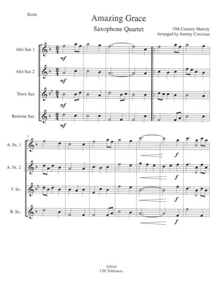 Amazing Grace for Saxophone Quartet (SATB or AATB)