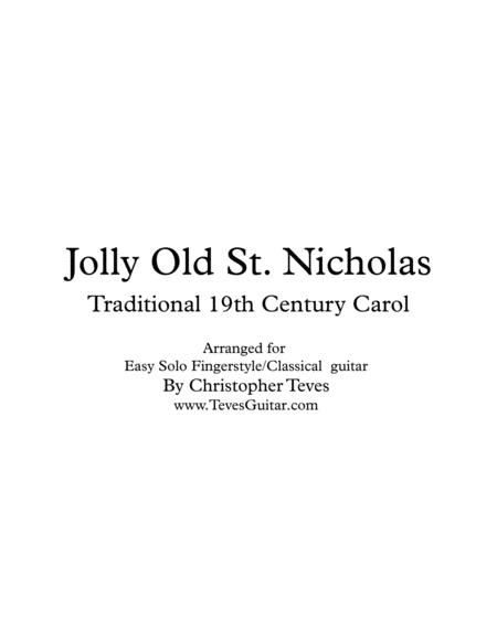 Jolly Old St Nicholas for easy solo fingerstyle guitar