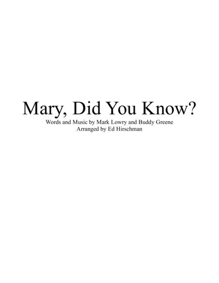 Mary, Did You Know?  Brass Quintet