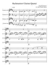 Rachmaninov Piano Concerto No. 2. Arragement of 2nd Movement for Clarinet Quartet