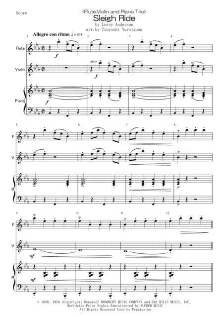 Sleigh Ride <Flute,Violin and Piano Trio>