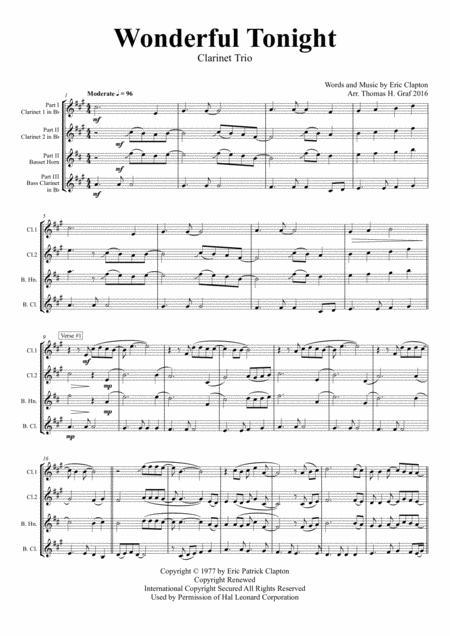 Wonderful Tonight - Eric Clapton - Clarinet Trio