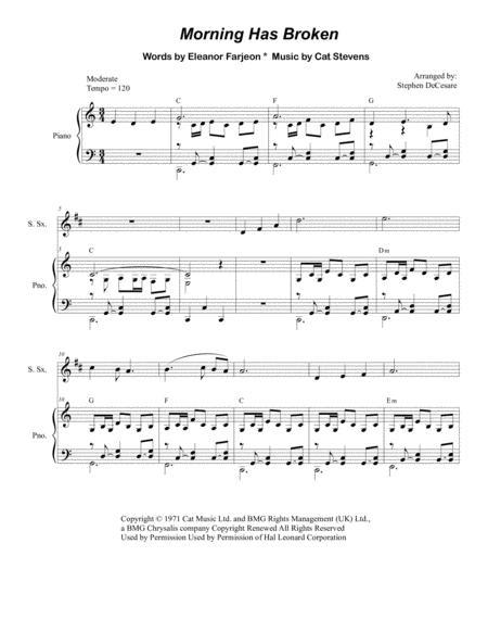 Morning Has Broken (Duet for Soprano and Alto Saxophone)