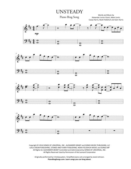 Download Unsteady (Short Piano Solo) - X Ambassadors Sheet