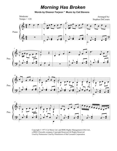 Download Morning Has Broken (Piano Solo) Sheet Music By Cat Stevens ...