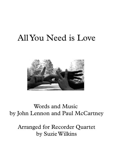 All You Need Is Love for Recorder Quartet