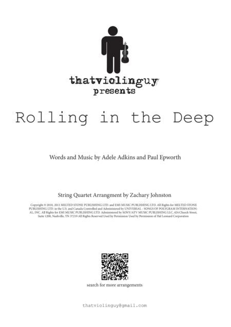 Rolling In The Deep for string quartet