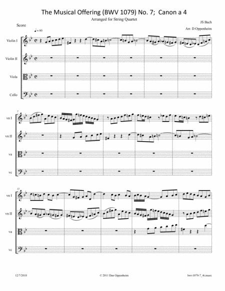 Bach: The Musical Offering (BWV 1079) No. 7 Canon a 4. arr. for String Quartet