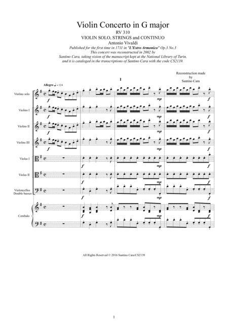 Vivaldi - Violin Concerto in G major RV 310 Op.3 No.3 for Violin solo, Strings and Continuo