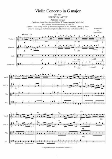 vivaldi - violin concerto in g major rv 310 op.3 no.3 for string quartet by  antonio vivaldi (1678-1741) - digital sheet music for set of parts,sheet  music single - download & print  sheet music plus