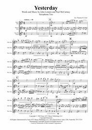 Yesterday - Beatles Classic - Saxophone Trio
