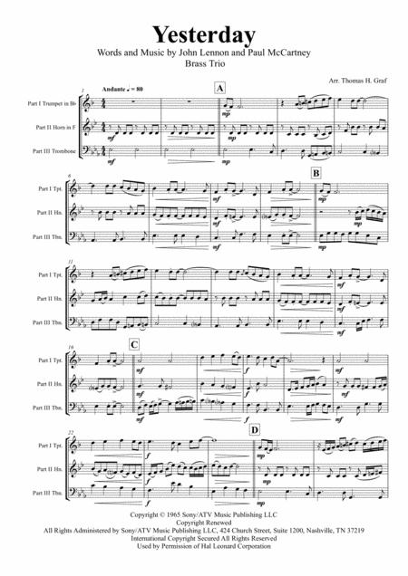 Yesterday - Beatles Classic - Brass Trio