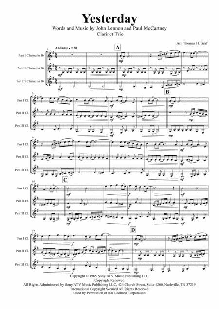 Yesterday - Beatles Classic - Clarinet Trio