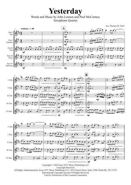 Yesterday - Beatles Classic - Saxophone Quartet