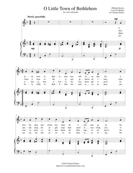 O Little Town of Bethlehem - for vocal solo with piano accompaniment in F major