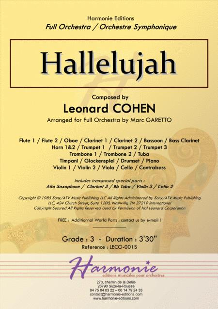 HALLELUJAH - Leonard COHEN - Arranged for Full Orchestra by Marc GARETTO
