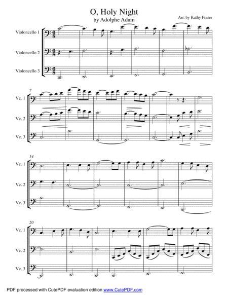 O, Holy Night for Cello Trio