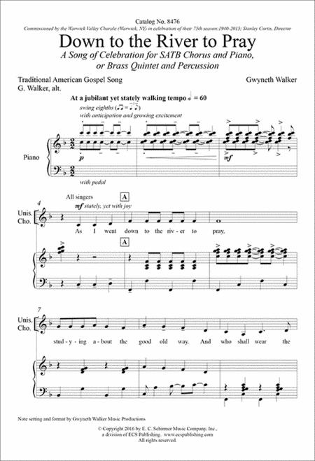 Down to the River to Pray: A Song of Celebration (Piano/Choral Score)