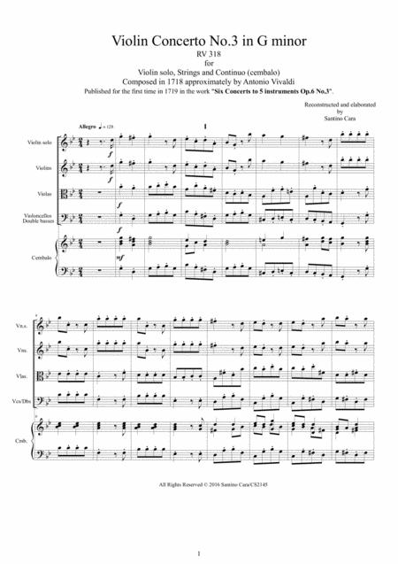 Vivaldi - Violin Concerto No.3 in G minor RV 318 Op.6 for Violin solo, Strings and Continuo