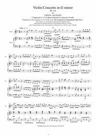 Vivaldi - Violin Concerto in G minor RV 318 Op.6 No.3 for Violin and Piano