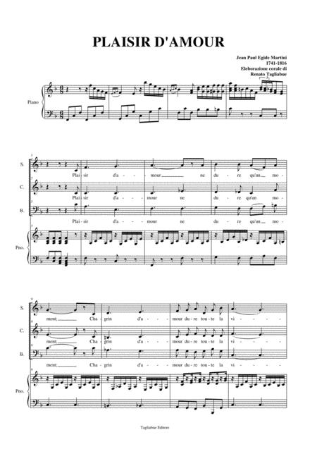 PLAISIR D'AMOUR - Arr. for SAB Choir and Piano