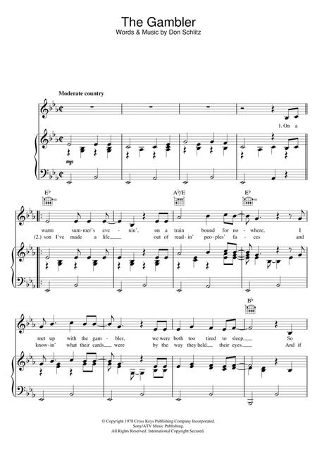 Download The Gambler Sheet Music By Kenny Rogers - Sheet Music Plus