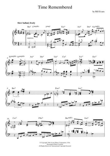 Download Time Remembered Sheet Music By Bill Evans - Sheet