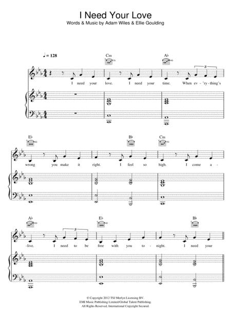 Download I Need Your Love Featuring Ellie Goulding Sheet Music By