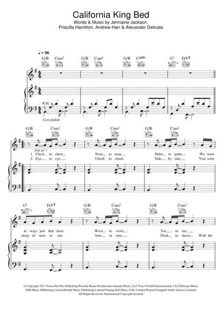 Download California King Bed Sheet Music By Rihanna - Sheet Music Plus