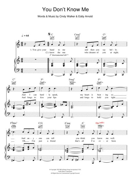 Download You Don\'t Know Me Sheet Music By Ray Charles - Sheet Music Plus