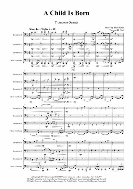 A Child Is Born - Christmas Jazz Waltz by Thad Jones  - Trombone Quartet