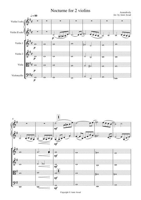Azarashvili Nocturne for 2 Violin duet with string orchestra