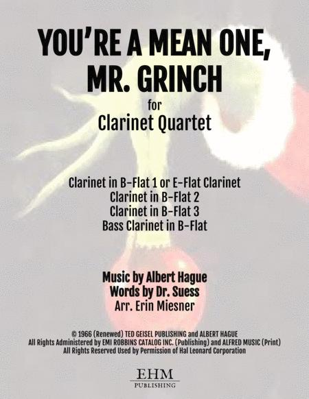 You're A Mean One, Mr. Grinch for Clarinet Quartet