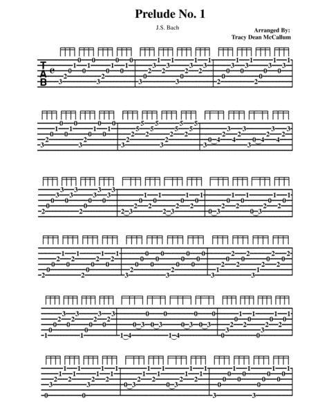 Bach Prelude No. 1 Guitar Tablature