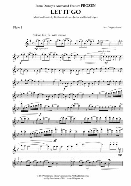 Download Let It Go From Frozen For Flute Quartet Sheet Music By