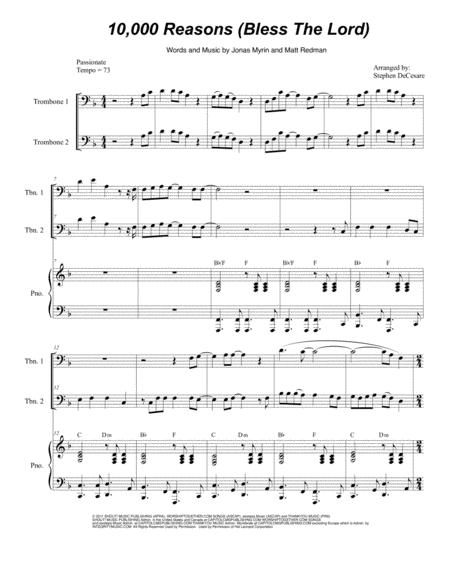 Download 10,000 Reasons (Bless The Lord) (Trombone Duet) Sheet Music ...
