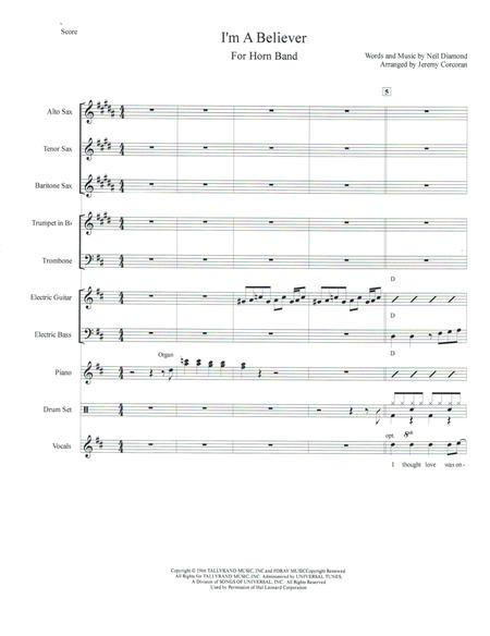 Download Im A Believer For Rock Band With Horns Sheet Music By The