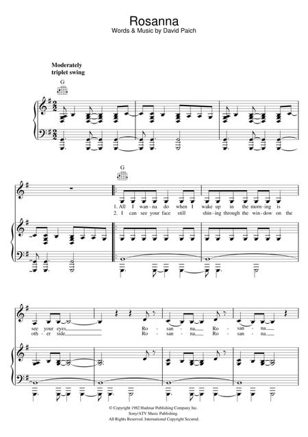 Download Rosanna Sheet Music By Toto - Sheet Music Plus