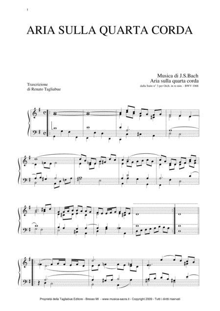 AIR ON G STRING - BWV 1068  - Arr. for Organ/Piano