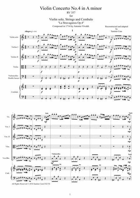 Vivaldi - Violin Concerto No.4 in A minor Op.4 RV 357 for Violin solo, Strings and Cembalo