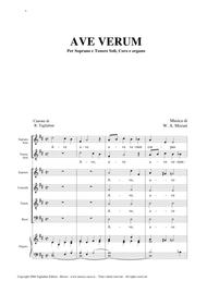 AVE VERUM - Canon on AVE VERUM Mozart's - For Sopran and Tenor Soli, Choir SATB and Organ