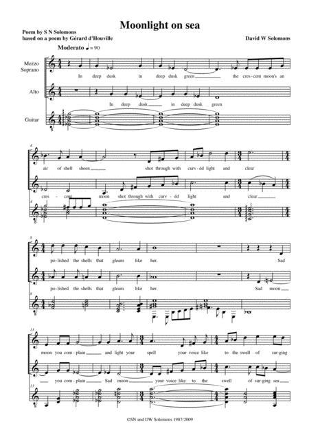 Moonlight on sea – mezzo sopranos, altos and guitar