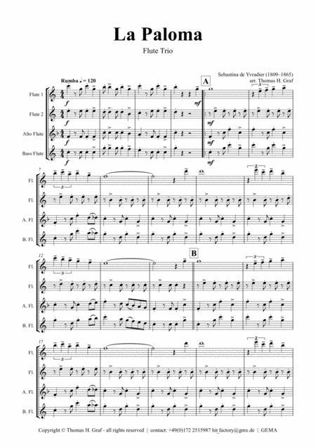 La Paloma - Spanish Habanera - Flute Trio